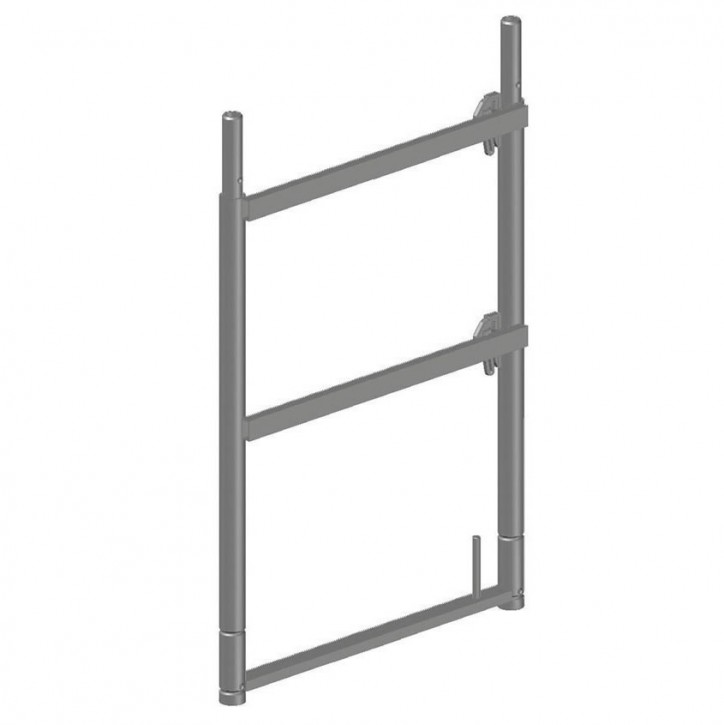 Stahl-Stirnseiten-Geländerrahmen quadro light mit Rohrverbinder und zwei Keilkästchen